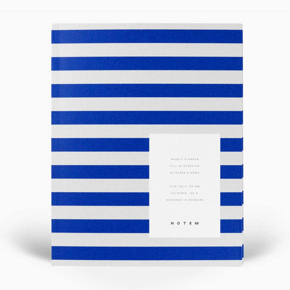 Notizbuch - Notebook UMA Weekly Planner medium bright blue stripes