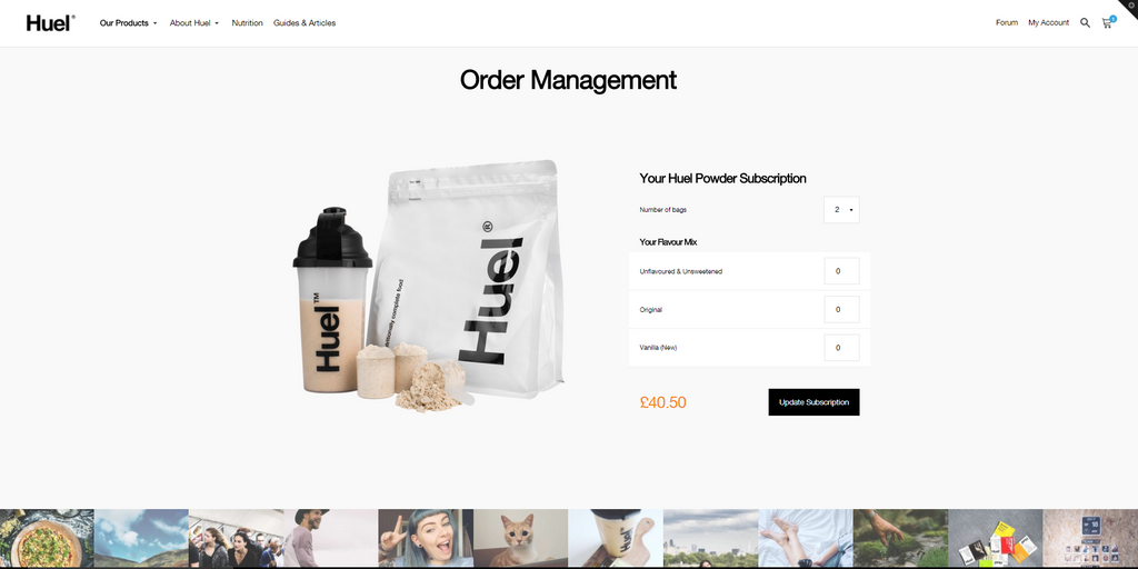 Change Flavour Split of Huel Subscription