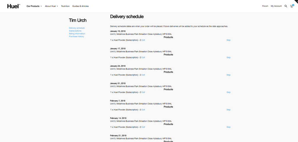 Upcoming Delivery Schedule for Huel Subscription