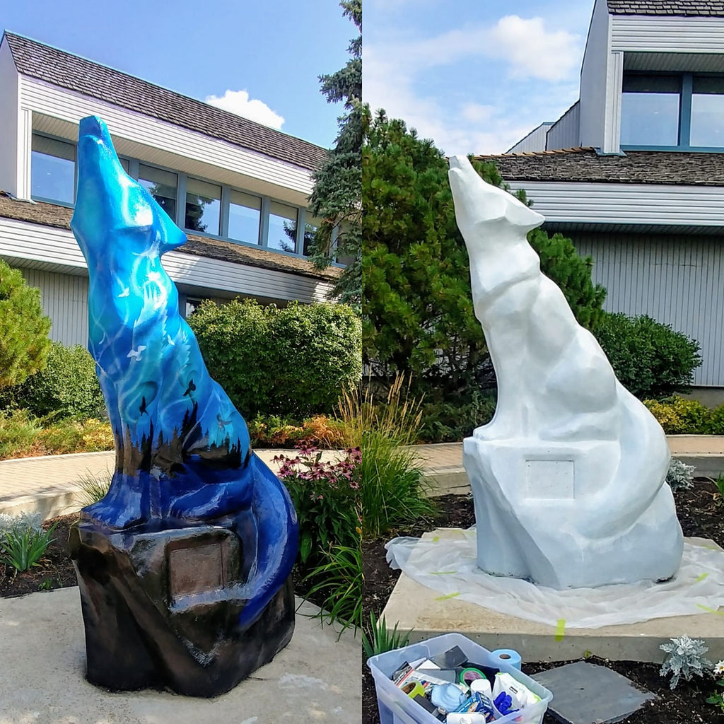 Wolf statue before and after