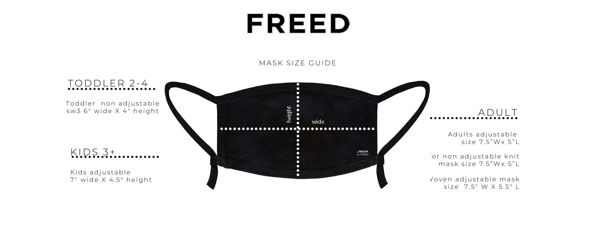 aMASK by FREED adult and kids face covering size guide