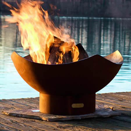 Fire Pit Art Manta Ray Handcrafted Carbon Steel Fire Pit (MR), Fireplace - Yardify.com