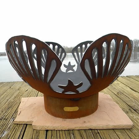 Fire Pit Art Barefoot Beach Handcrafted Carbon Steel Fire Pit (BB), Fireplace - Yardify.com