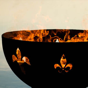 Fire Pit Art Fleur De Lis Handcrafted Carbon Steel Fire Pit (FDL), Fireplace - Yardify.com