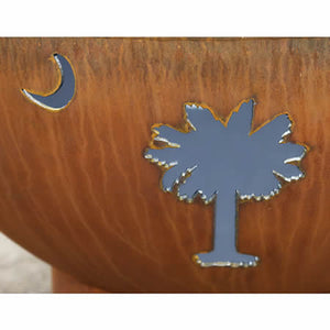 Fire Pit Art Tropical Moon Handcrafted Carbon Steel Fire Pit (TM), Fireplace - Yardify.com