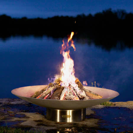 Fire Pit Art Bella Vita Stainless Steel Handcrafted Carbon Steel Fire Pit (BV), Fireplace - Yardify.com