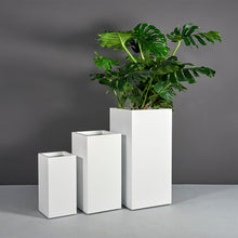 "Load image into Gallery viewer, Jay Scotts Santiago Tall Tapered Square Fiberglass Planter: 20""L x 20""W x 42""H"