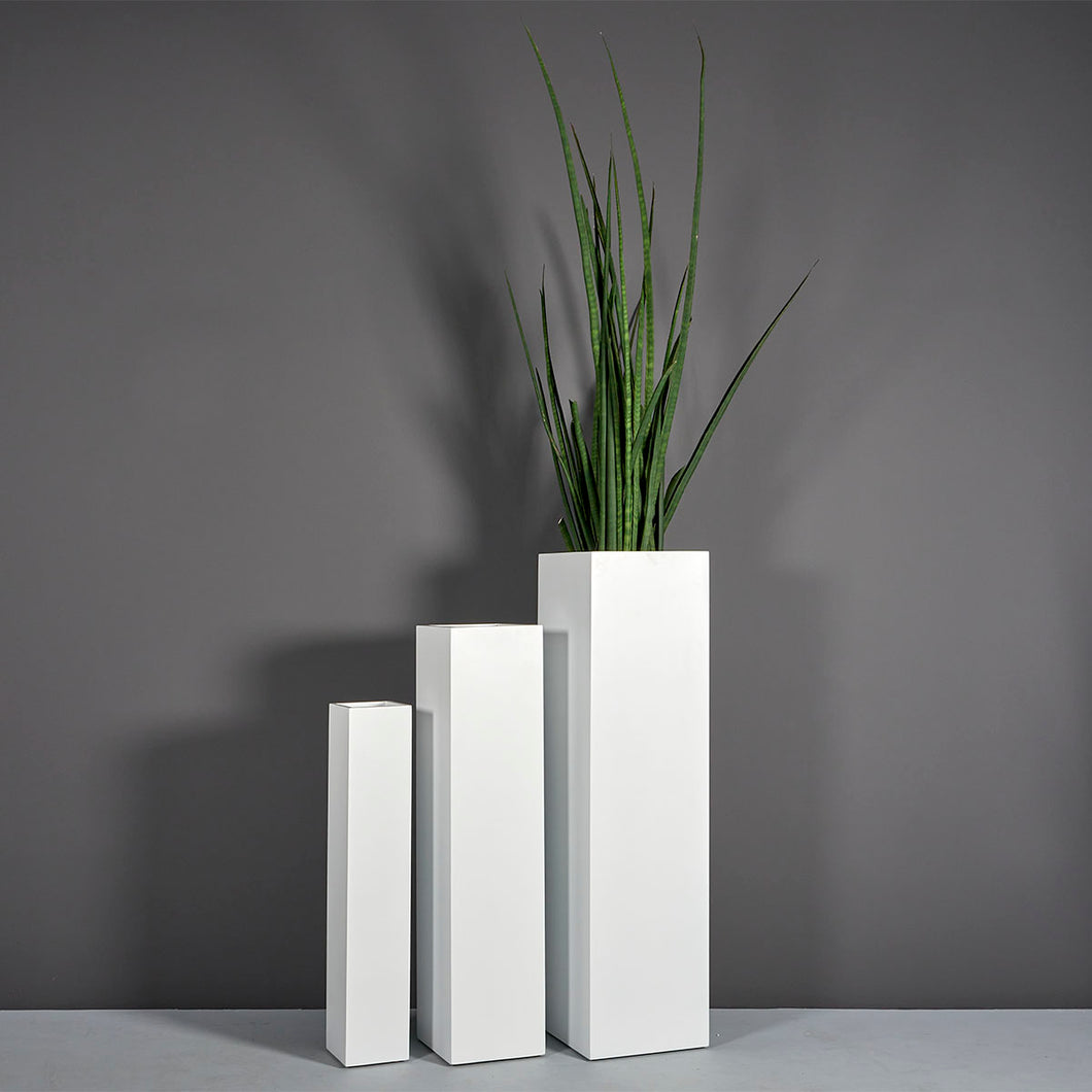 Jay Scotts Britz Tall Tapered Square Fiberglass Planter: 8