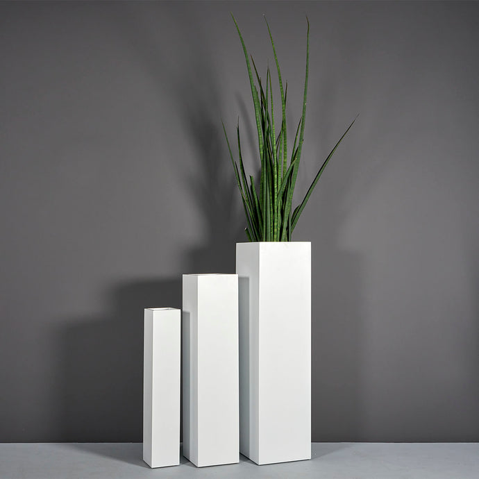 Jay Scotts Britz Tall Tapered Square Fiberglass Planter: 12