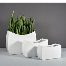 "Load image into Gallery viewer, Seoul Rectangular Fiberglass Planter Box: 36""L x 16""W x 24/20""H"