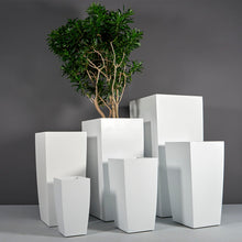 "Load image into Gallery viewer, Jay Scotts Toulan Tall Tapered Square Fiberglass Planter: 16""L x 16""W x 30""H"