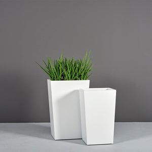 "Amsterdam Tapered Rectangular Fiberglass Planter: 16""L x 10""W x 26""H"