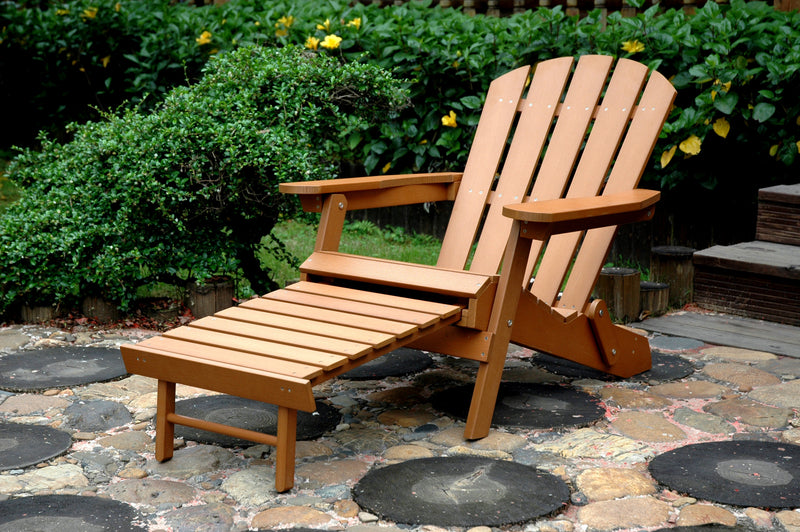 Faux Wood Folding Adirondack Chair with Pull-Out Ottoman