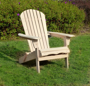 Wooden Unfinished Adirondack Chair Kit With Pullout Ottoman, Chair - Yardify.com