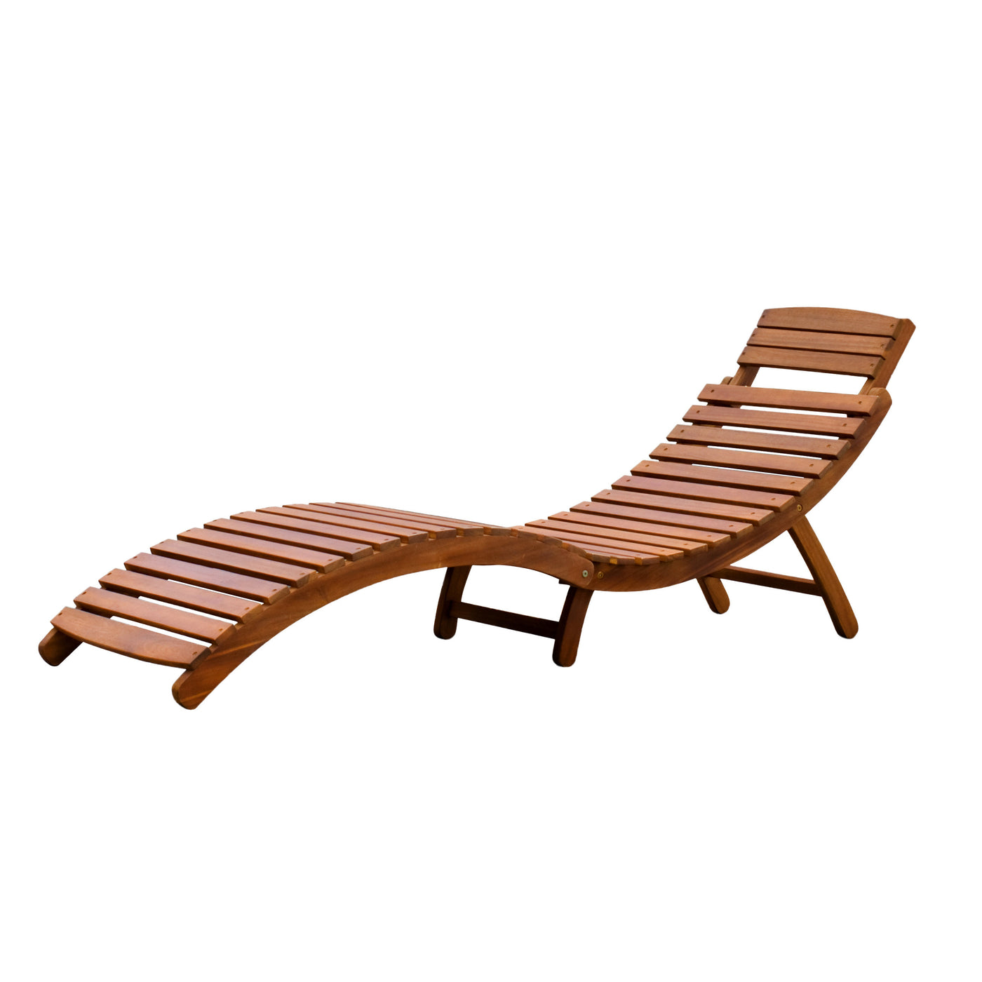 Swimming Pool Side Acacia Hardwood Curved Folding Chaise Lounger