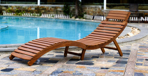 Swimming Pool-Side Acacia Hardwood Curved Folding Chaise Lounger, Chair - Yardify.com