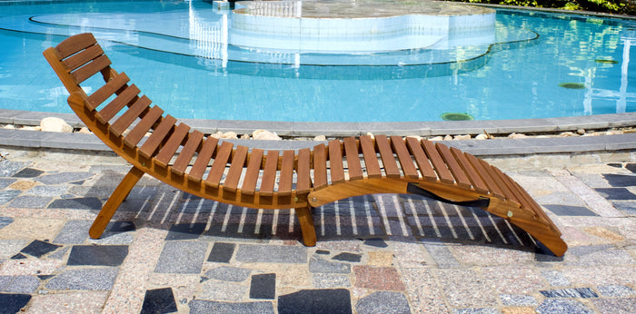 Swimming Pool-Side Acacia Hardwood Curved Folding Chaise Lounger