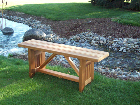 "Red Cedar Wooden Cabbage Hill 5 Feet Flat Bench 59""L x 13""W x 17""H"