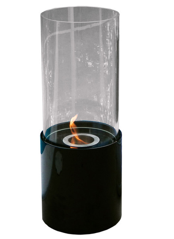 Doppio Noir Tabletop Glass Cylinder Fireplace Black - Yardify.com