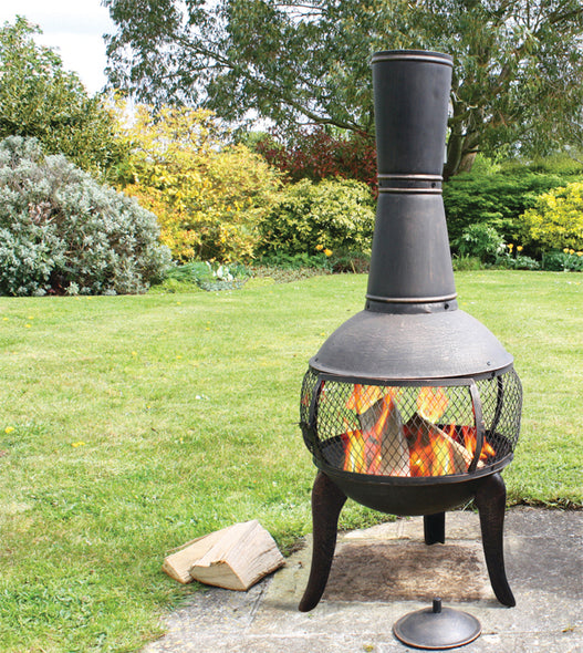 Tuscan Glo Cast Iron Chiminea, Chiminea - Yardify.com