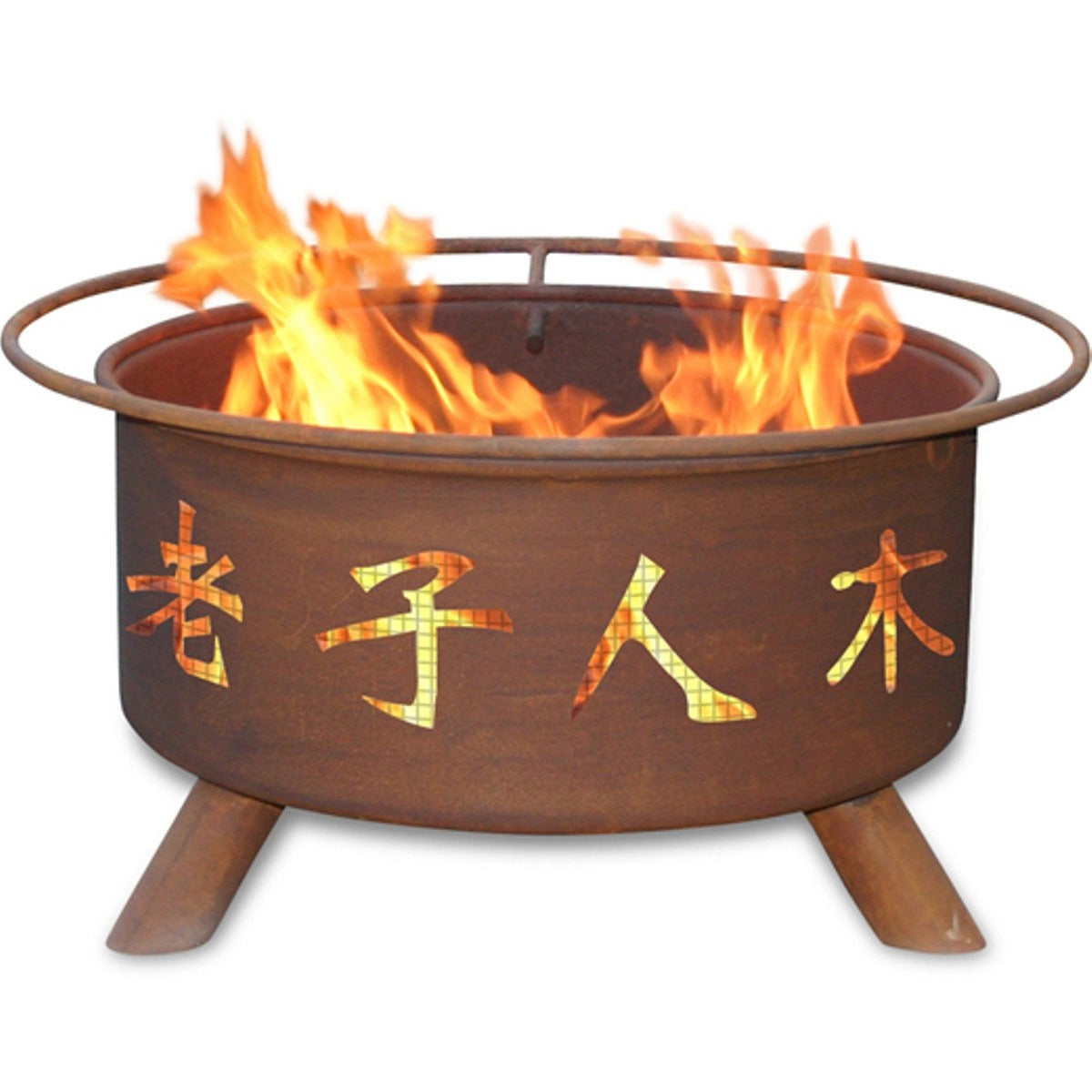 Chinese Symbols Design Steel Wood and Charcoal Fire Pit for Patio, Fireplace - Yardify.com
