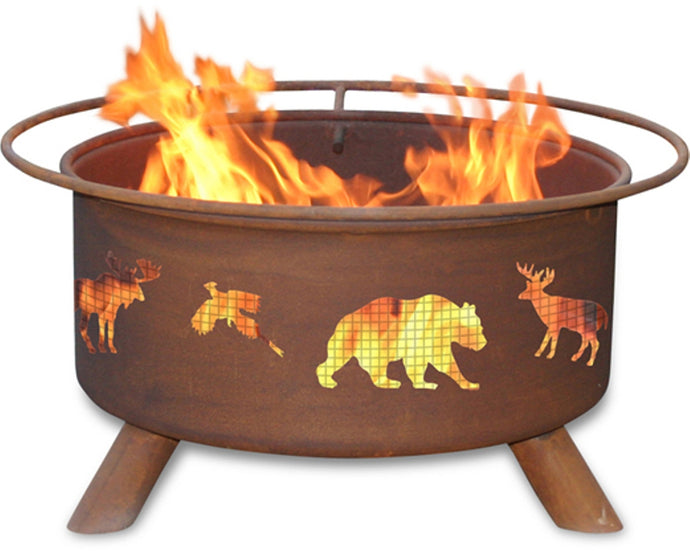 Wildlife Animal Design Logo Wood / Charcoal Steel Fire Pit, Fireplace - Yardify.com
