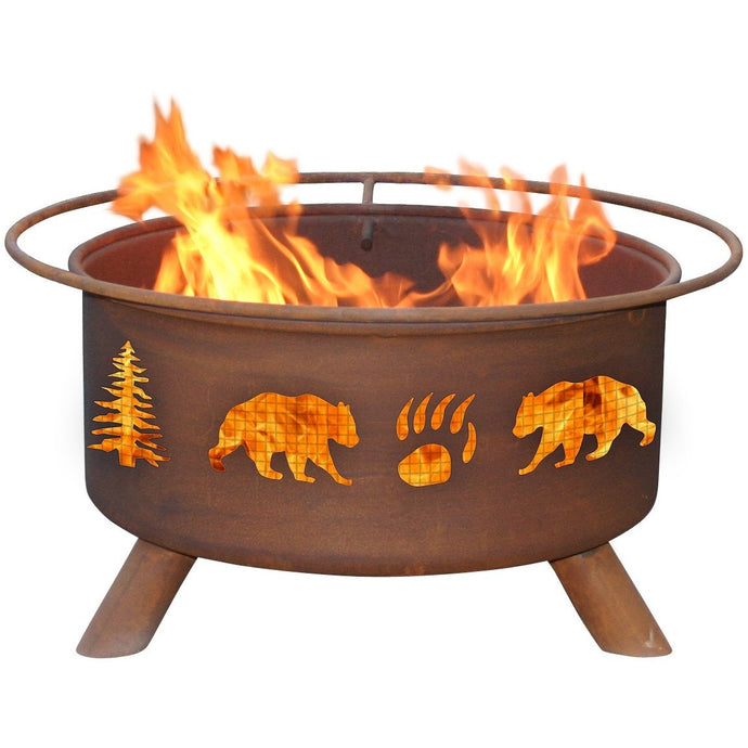 Bear & Trees Design Steel Wood and Charcoal Fire Pit for Patio, Fireplace - Yardify.com