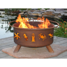 Load image into Gallery viewer, Atlantic Coast Ocean Design Steel Wood and Charcoal Fire Pit for Patio, Fireplace - Yardify.com