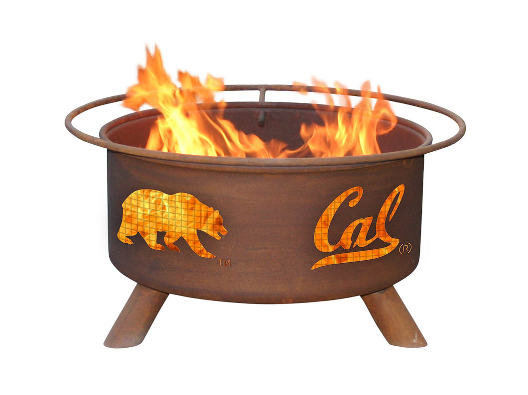 Collegiate University Cal Berkeley Logo Wood and Charcoal Steel Fire Pit, Fireplace - Yardify.com