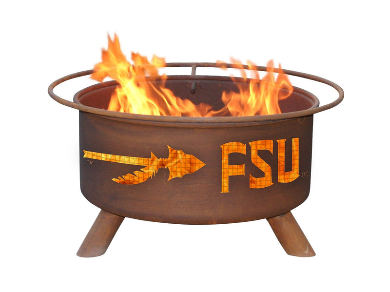 Collegiate Florida State University Logo Wood and Charcoal Steel Fire Pit