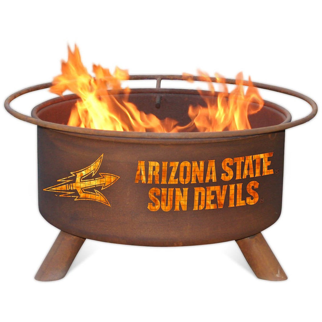 Collegiate Arizona State University Logo Steel Wood and Charcoal Fire Pit, Fireplace - Yardify.com