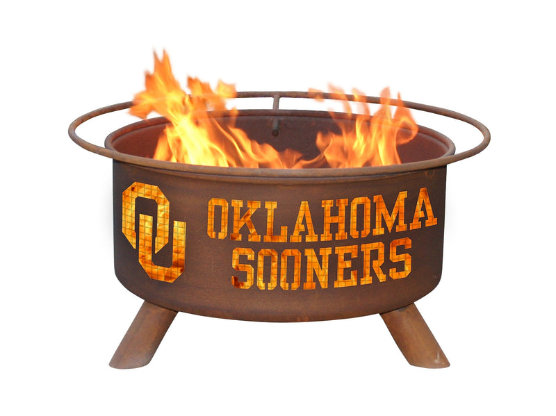 Collegiate Oklahoma University Logo Wood / Charcoal Steel Fire Pit