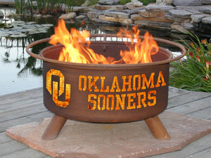 Collegiate Oklahoma University Logo Wood / Charcoal Steel Fire Pit, Fireplace - Yardify.com