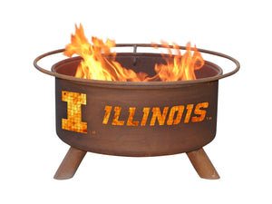 Collegiate University of Illinois Logo Wood / Charcoal Steel Fire Pit, Fireplace - Yardify.com