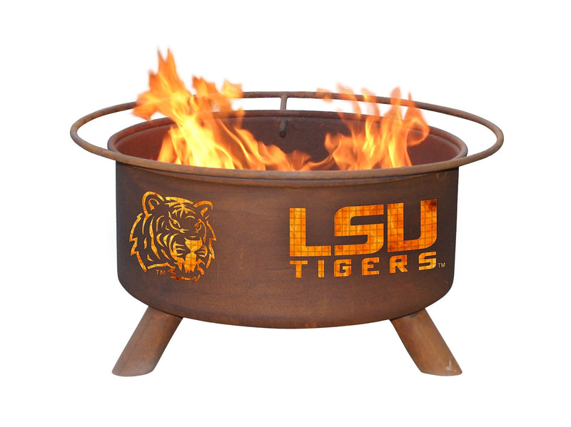 Collegiate LSU Mike the Tiger Logo Wood / Charcoal Steel Fire Pit