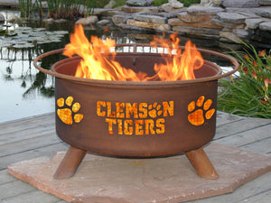 Collegiate Clemson University Logo Wood and Charcoal Steel Fire Pit, Fireplace - Yardify.com