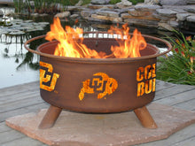 Load image into Gallery viewer, Collegiate University of Colorado Logo Wood and Charcoal Steel Fire Pit, Fireplace - Yardify.com
