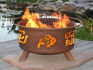 Collegiate University of Colorado Logo Wood and Charcoal Steel Fire Pit, Fireplace - Yardify.com