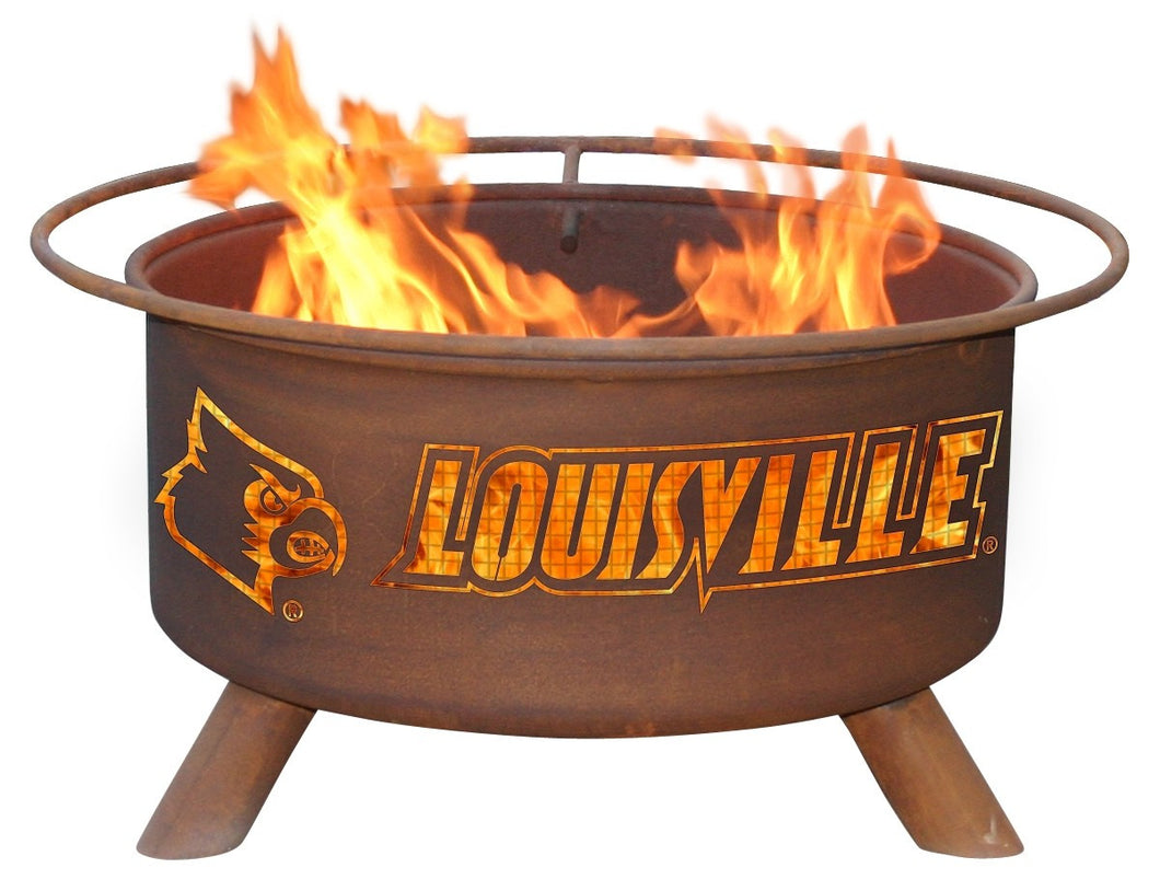 Collegiate Louisville Logo Wood / Charcoal Steel Fire Pit, Fireplace - Yardify.com