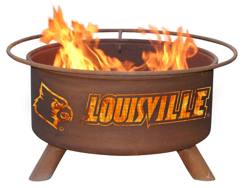 Collegiate Louisville Logo Wood / Charcoal Steel Fire Pit