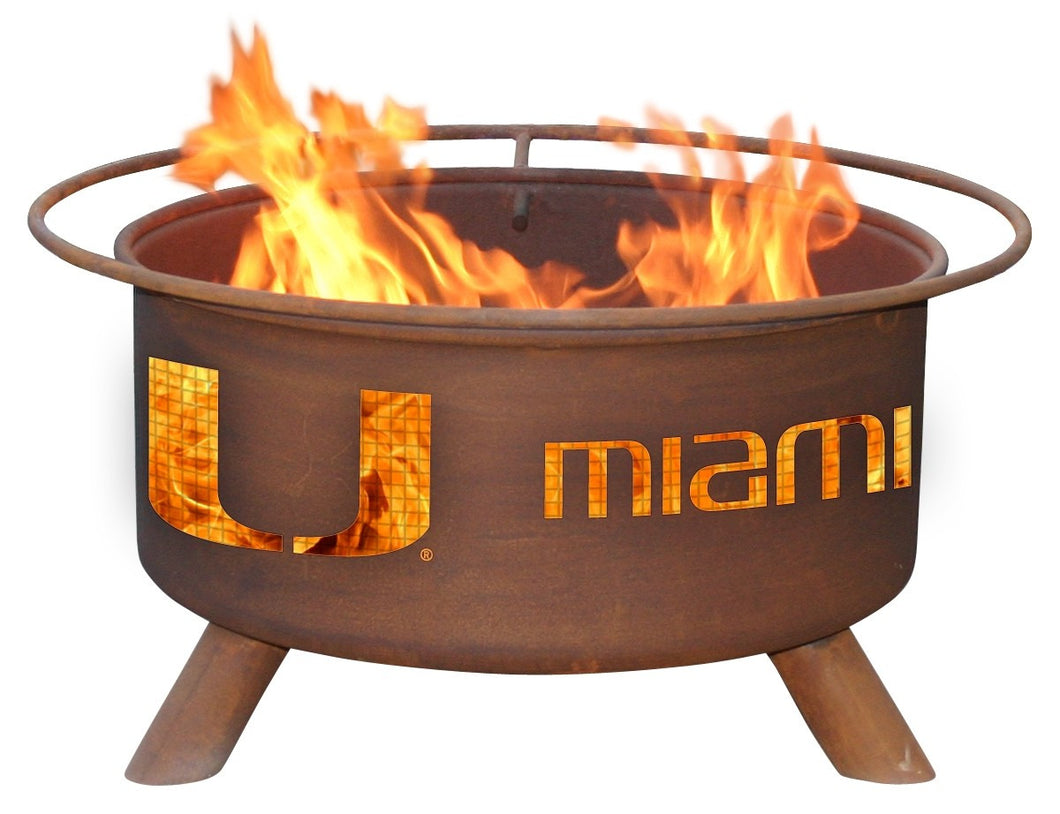 Collegiate University of Miami Logo Wood / Charcoal Steel Fire Pit, Fireplace - Yardify.com