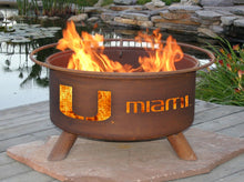 Load image into Gallery viewer, Collegiate University of Miami Logo Wood / Charcoal Steel Fire Pit, Fireplace - Yardify.com