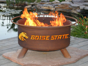 Collegiate Boise State University Logo Wood and Charcoal Steel Fire Pit, Fireplace - Yardify.com