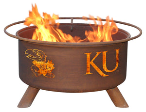 Collegiate University of Kansas Logo Wood / Charcoal Steel Fire Pit, Fireplace - Yardify.com