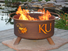 Load image into Gallery viewer, Collegiate University of Kansas Logo Wood / Charcoal Steel Fire Pit, Fireplace - Yardify.com