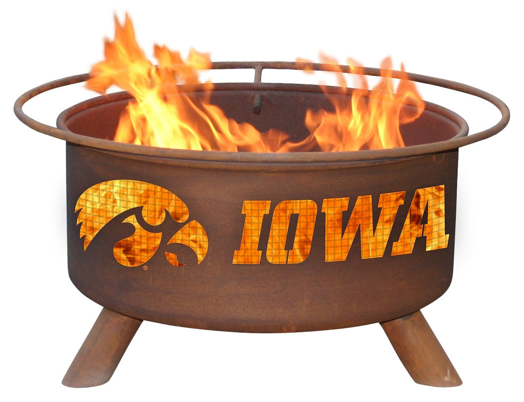Collegiate University of Iowa Logo Wood / Charcoal Steel Fire Pit, Fireplace - Yardify.com