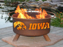 Load image into Gallery viewer, Collegiate University of Iowa Logo Wood / Charcoal Steel Fire Pit, Fireplace - Yardify.com