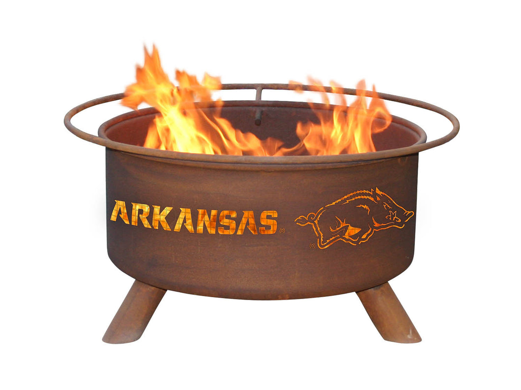 Collegiate University of Arkansas Logo Steel Wood and Charcoal Fire Pit, Fireplace - Yardify.com