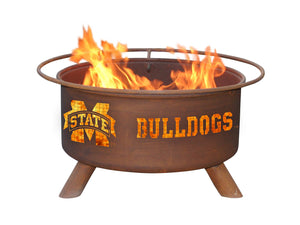 Collegiate Mississippi State University Logo Wood / Charcoal Steel Fire Pit, Fireplace - Yardify.com