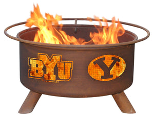 Collegiate BYU University Logo Wood and Charcoal Steel Fire Pit, Fireplace - Yardify.com